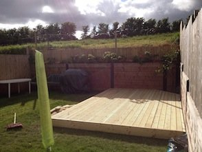 Fencing and decking for garden in Newton St Cyres