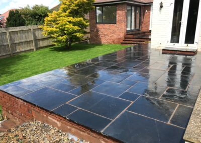 New Patio, Retaining Wall & Lawn – Cowley, Exeter
