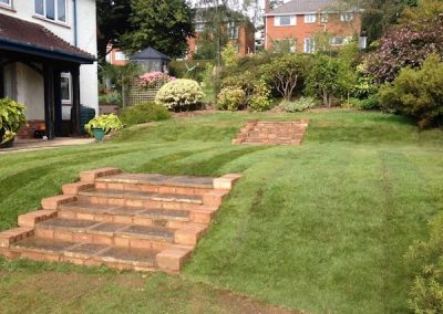 Landscaped slope with new steps