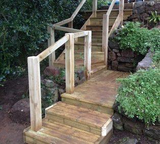 Replacing old wooden garden steps